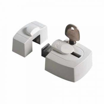 AXA veiligheids raam oplegslot  3015, wit met cilinderslot binnendraaiend, SKG*®